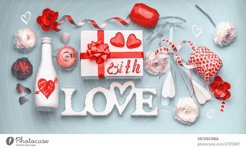 Valentinstag Party Stil Design Dekoration & Verzierung Veranstaltung Feste & Feiern Herz Fahne Liebe Gefühle Champagne Mitteilung Sale Serpentinen
