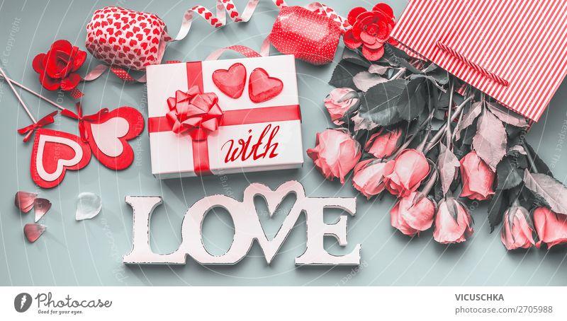 Romantische Valentinstag Composing Stil Design Dekoration & Verzierung Party Veranstaltung Feste & Feiern Blume Rose Blumenstrauß Schleife Schriftzeichen Herz