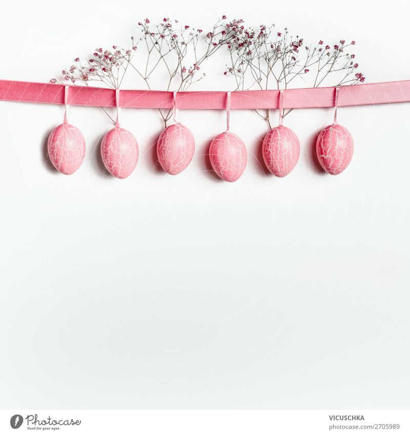 Hängende Ostereier Stil Design Dekoration & Verzierung Feste & Feiern Ostern Fahne rosa Tradition Hintergrundbild Symbole & Metaphern Ei hängend Schleife Rahmen