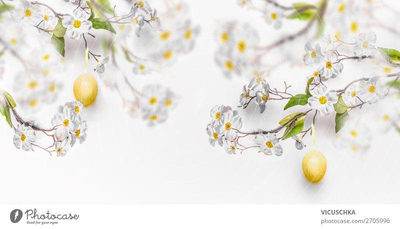 Hängende gelbe Ostereier und Frühlingsblüten Stil Design Dekoration & Verzierung Feste & Feiern Ostern Natur Blatt Blüte Mauer Wand Blumenstrauß Fahne weiß