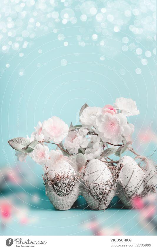Ostern Hintergrund mit Blüten und Eier Stil Design Leben Feste & Feiern Natur Pflanze Frühling Blatt Dekoration & Verzierung Blumenstrauß rosa Tradition