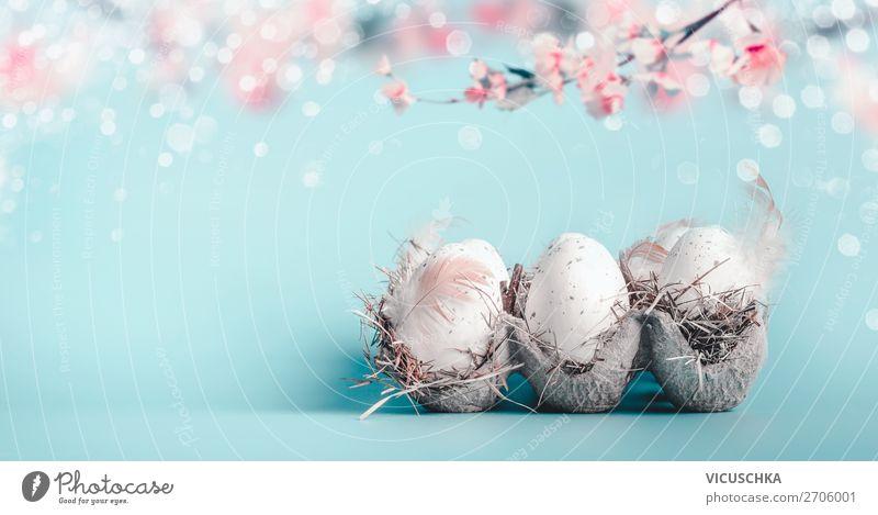 Ostern Hintergrund in Pastellfarben. Stil Design Feste & Feiern Natur Frühling Blatt Blüte Dekoration & Verzierung Blumenstrauß Fahne blau rosa Tradition easter