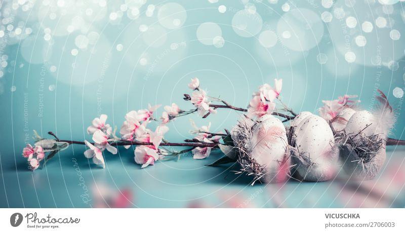Ostereiern Hintergrund mit Frühlingsblüten Stil Design Häusliches Leben Dekoration & Verzierung Feste & Feiern Ostern Natur Blatt Blüte Fahne trendy rosa türkis