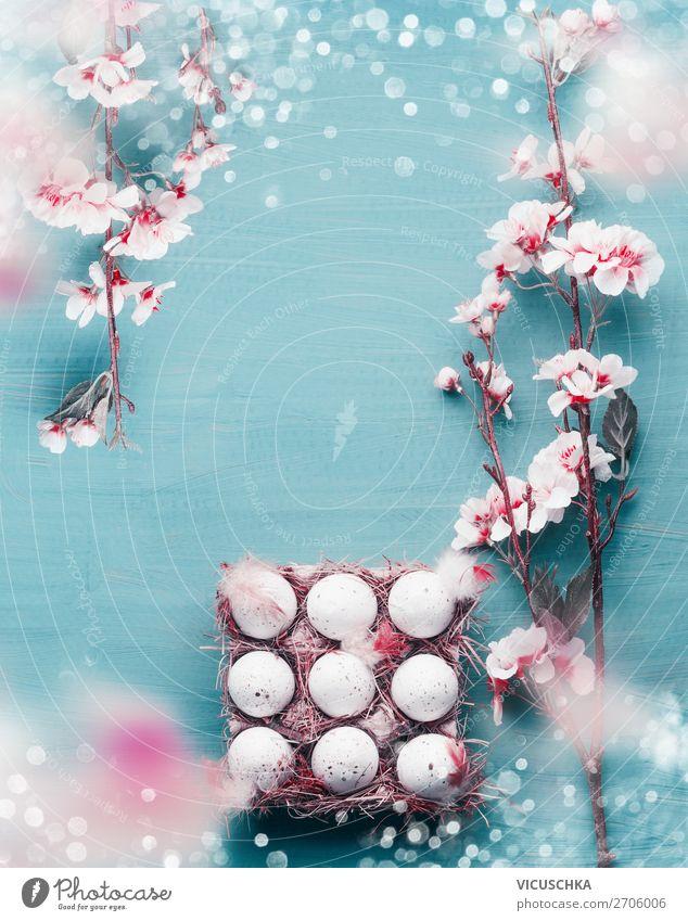 Ostern Hintergrund mit Eier and Kirschbüten Stil Design Leben Feste & Feiern Natur Frühling Dekoration & Verzierung Blumenstrauß türkis weiß Tradition
