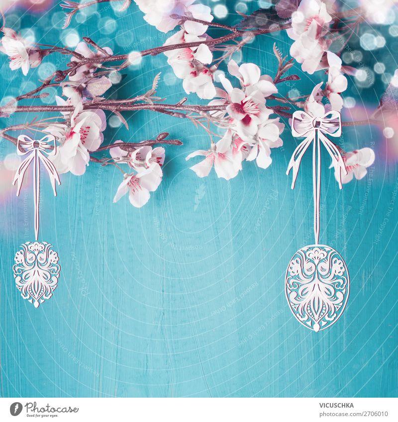 Ostern Hintergrund mit Frühlingsblüten und hängenden Eier Stil Design Dekoration & Verzierung Feste & Feiern Blüte Blumenstrauß gelb rosa Hintergrundbild