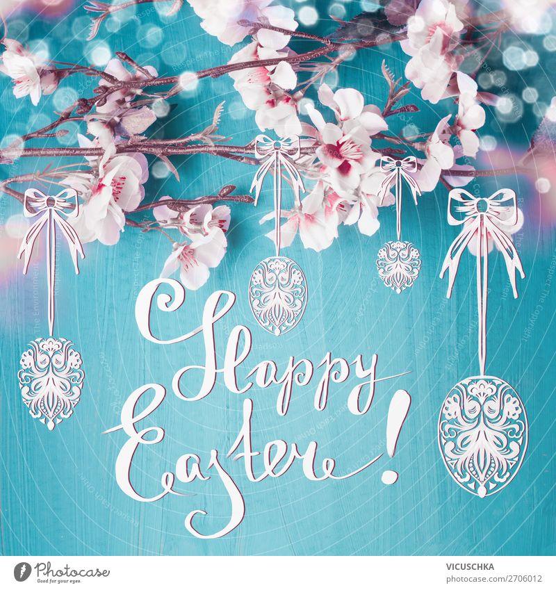 Happy Easter. Ostern Grußkarte mit Text Stil Design Dekoration & Verzierung Feste & Feiern Natur Pflanze Frühling Blatt Blüte Zeichen gelb rosa