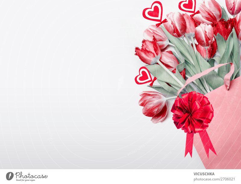 Rote Tulpen zum Valentinstag kaufen Stil Design Dekoration & Verzierung Party Veranstaltung Feste & Feiern Blume Blumenstrauß Liebe Hintergrundbild Composing