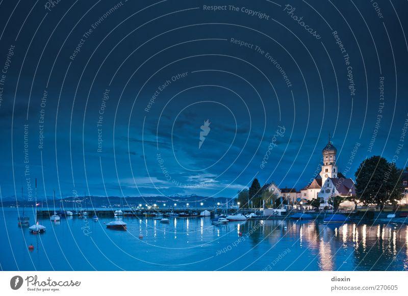Nachts am See | Pt.1 Ferien & Urlaub & Reisen Ausflug Umwelt Natur Landschaft Wasser Himmel Wolken Nachthimmel Bodensee Wasserburg Dorf Fischerdorf Kleinstadt