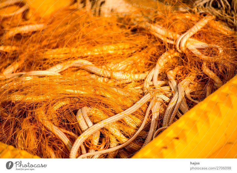 Fischernetze auf einem Fischkutter Fischerboot orange Netze Haufen Wirrwar Zubehör Fischerei Taue Farbfoto Außenaufnahme Nahaufnahme Menschenleer Tag