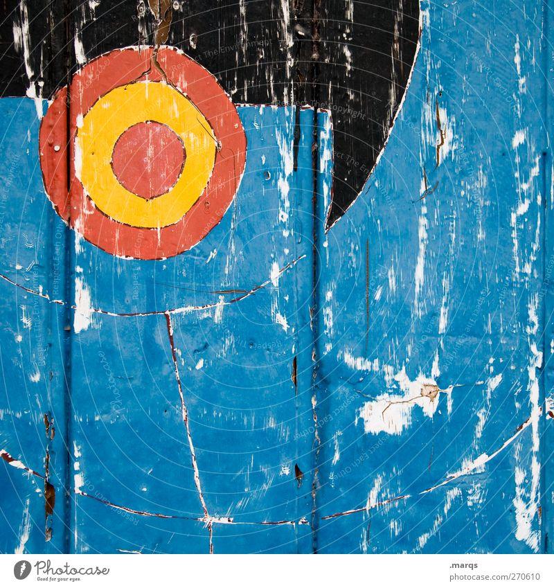 Ziel Stil Design Kunst Mauer Wand Holz Zeichen alt außergewöhnlich Coolness blau gelb rot schwarz Farbe Wandel & Veränderung Zukunft Kratzer Zielscheibe Lack