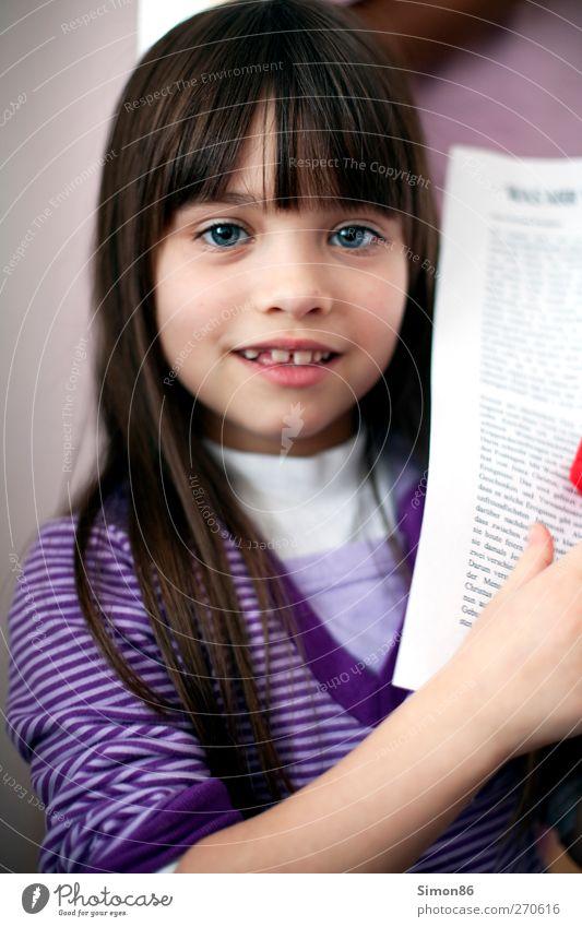 violette streifen Mensch feminin Mädchen Kindheit Leben Körper 1 3-8 Jahre T-Shirt Pullover Haare & Frisuren brünett langhaarig Pony lernen ästhetisch