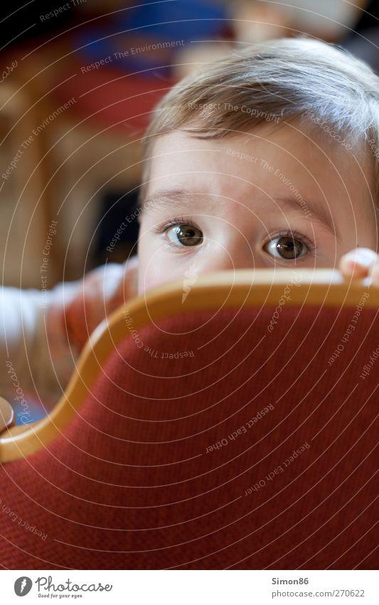 was guckst du? maskulin Junge Kindheit Kopf 1 Mensch 3-8 Jahre blond kurzhaarig beobachten entdecken Blick klein Neugier klug rot Stimmung Zufriedenheit