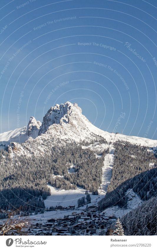 Die Cirspitzen in den Dolomiten Himmel Ferien & Urlaub & Reisen Natur blau weiß Landschaft Haus Wald Winter Reisefotografie Berge u. Gebirge Schnee Wetter