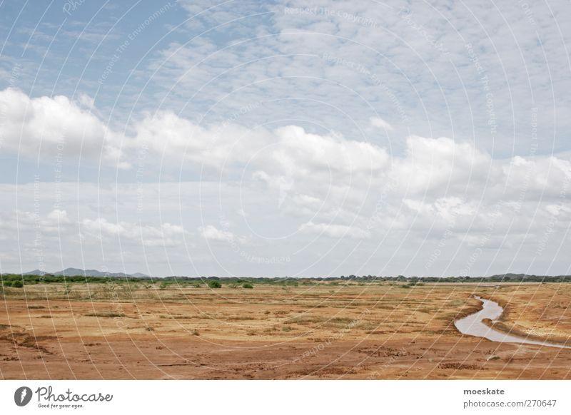 Wüste Himmel blau Wasser Ferien & Urlaub & Reisen Sommer Einsamkeit Umwelt Landschaft Wärme Sand braun wandern Ausflug Abenteuer trist