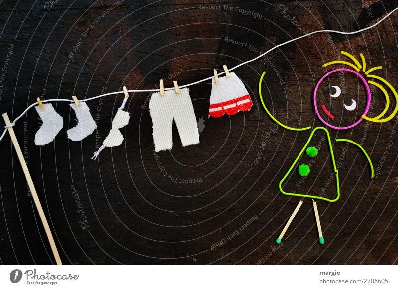 luftig | Wäsche trocknen Mensch feminin Frau Erwachsene 1 Mode Bekleidung Hose Strümpfe braun weiß Hausfrau Wäscheleine Wäsche waschen Wäscheklammern Rock BH