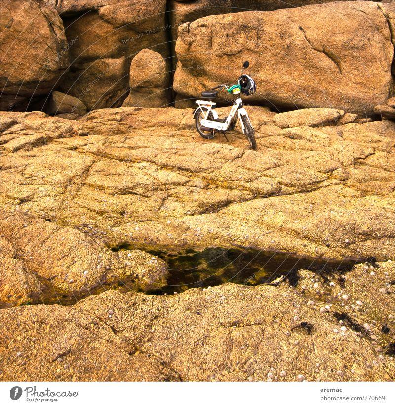 Naturparkhaus Landschaft Meer Verkehrsmittel Motorrad Kleinmotorrad fahren braun gelb Felsen Strand Küste warten parken Farbfoto Gedeckte Farben Außenaufnahme