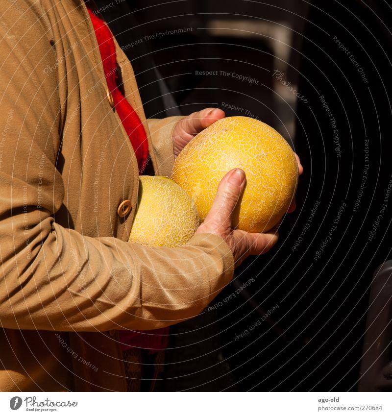 My whopper Frucht Melonen Gesunde Ernährung feminin Hand Finger 1 Mensch Sommer Jacke wählen kaufen lecker braun gelb grün Glück Zufriedenheit genießen Leben