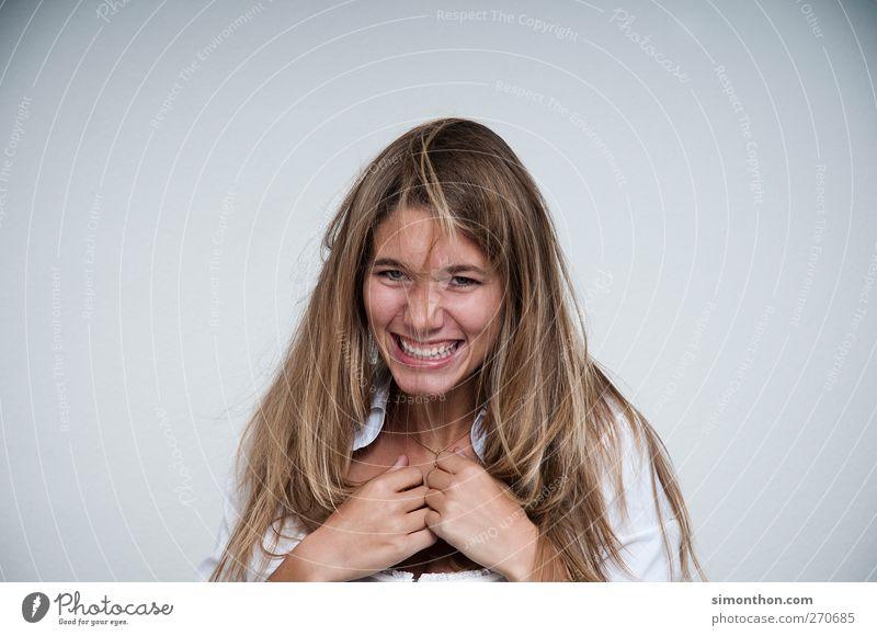 lachen 1 Mensch lustig Anfall verrückt Freundlichkeit Sympathie Farbfoto