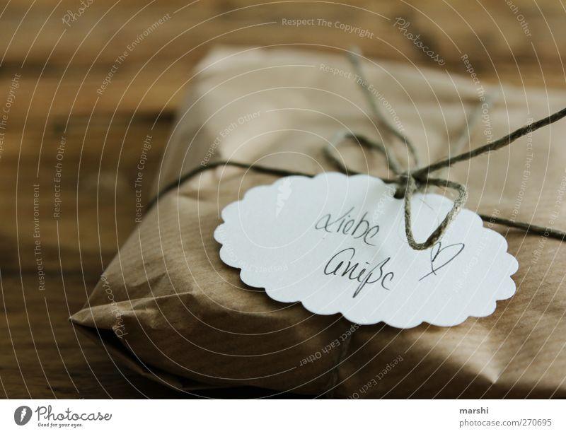 schlicht, aber von Herzen Liebe braun Schilder & Markierungen Schriftzeichen Geschenk Dekoration & Verzierung Papier Schnur einfach Zeichen Schleife Knoten