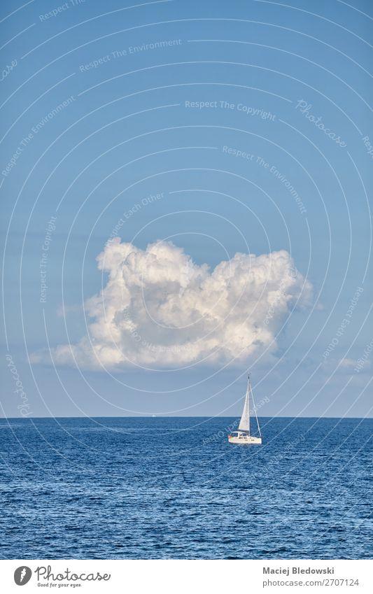 Einsame Yacht am Horizont. Lifestyle Ferien & Urlaub & Reisen Tourismus Ausflug Abenteuer Ferne Freiheit Kreuzfahrt Sommer Sommerurlaub Meer Sport Segeln Natur