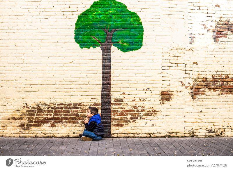 Kind Mensch Natur blau Stadt schön grün Landschaft Baum Blatt Freude Wald Winter Wand natürlich Glück