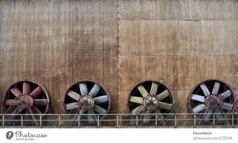 Gebläsequartett Wand Architektur Mauer Metall Wind Beton ästhetisch Industrie Fabrik stark Stahl Rost Maschine Skulptur Symmetrie stagnierend