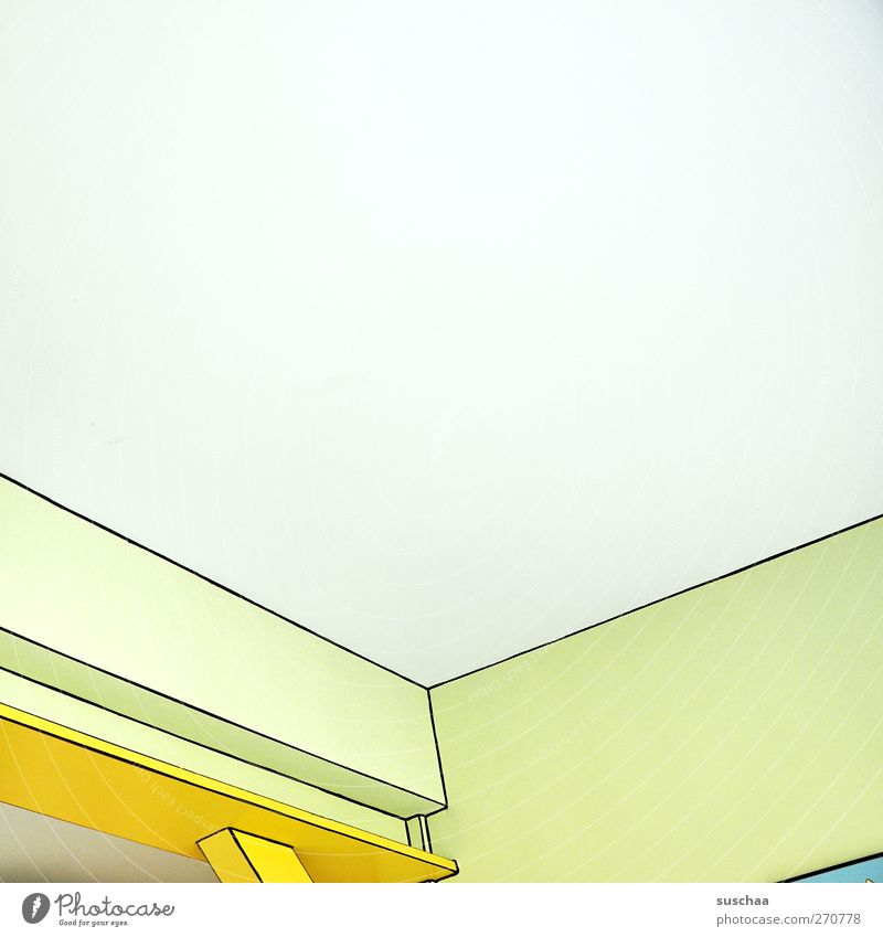 ecken und kanten Linie eckig hell kalt Leichtigkeit Symmetrie Raum Decke Wand Ecke Perspektive Comic Farbfoto mehrfarbig Innenaufnahme abstrakt Menschenleer