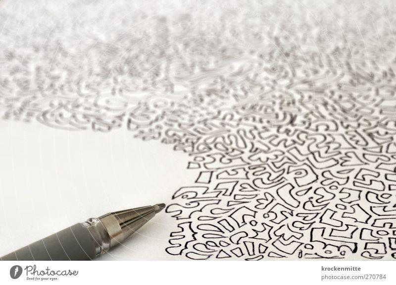 Langzeitgespräch weiß schwarz Textfreiraum Kreativität Herz Papier zeichnen Langeweile Schreibstift Zeichnung Kunstwerk Entwurf Telefongespräch Ausdauer