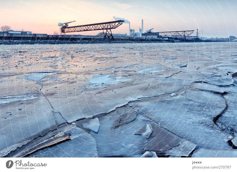 Lecker Eis Himmel Winter Schönes Wetter Frost Fluss Hafen kalt blau orange schwarz Rheinhafen Farbfoto Außenaufnahme Menschenleer Abend Dämmerung Sonnenaufgang