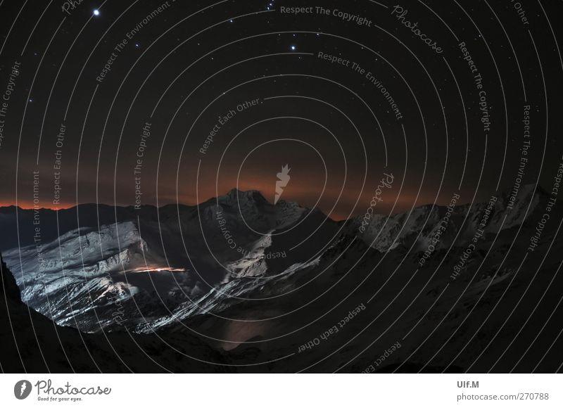 schöne Aussicht Winter Berge u. Gebirge Umwelt Landschaft Urelemente Nachthimmel Stern Schnee Alpen Gipfel Schneebedeckte Gipfel ästhetisch gigantisch