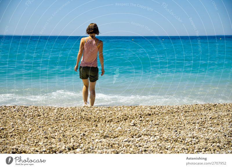 Frau am Strand Ferien & Urlaub & Reisen Freiheit Mensch feminin Junge Frau Jugendliche Erwachsene Körper Haut Kopf Haare & Frisuren Rücken Beine 1 18-30 Jahre