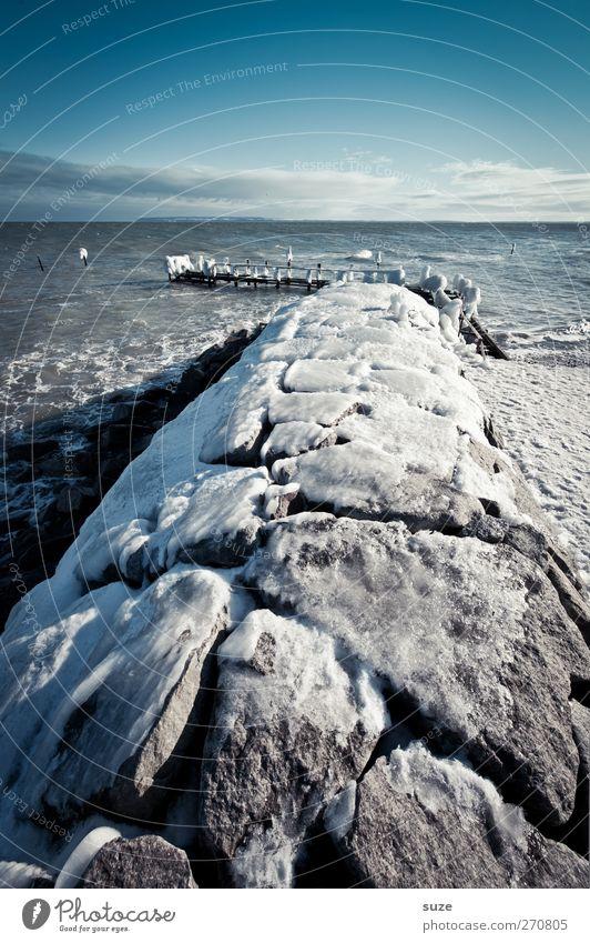 Frostschutz Meer Winter Schnee Umwelt Natur Landschaft Urelemente Luft Himmel Horizont Klima Wetter Eis Küste Ostsee Stein kalt Winterstimmung gefroren steinig