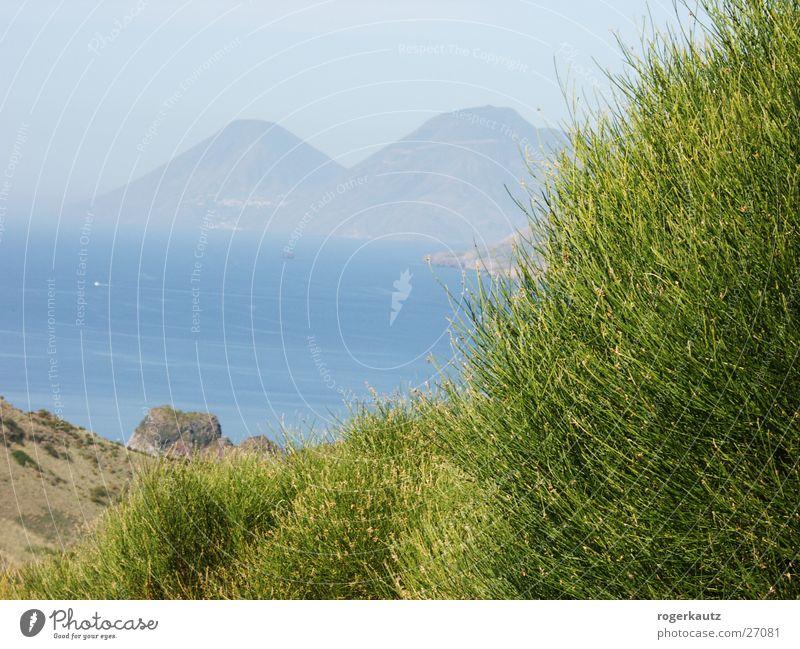 Blick von Volcano Vulcano Italien Lipari Küste schlechtes Wetter Ferien & Urlaub & Reisen Insel