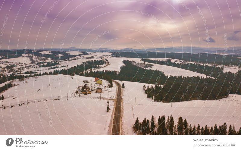 Ferien & Urlaub & Reisen Natur weiß Landschaft Baum Haus Wolken Wald Winter Ferne Berge u. Gebirge Straße Frühling Wege & Pfade Schnee Wiese
