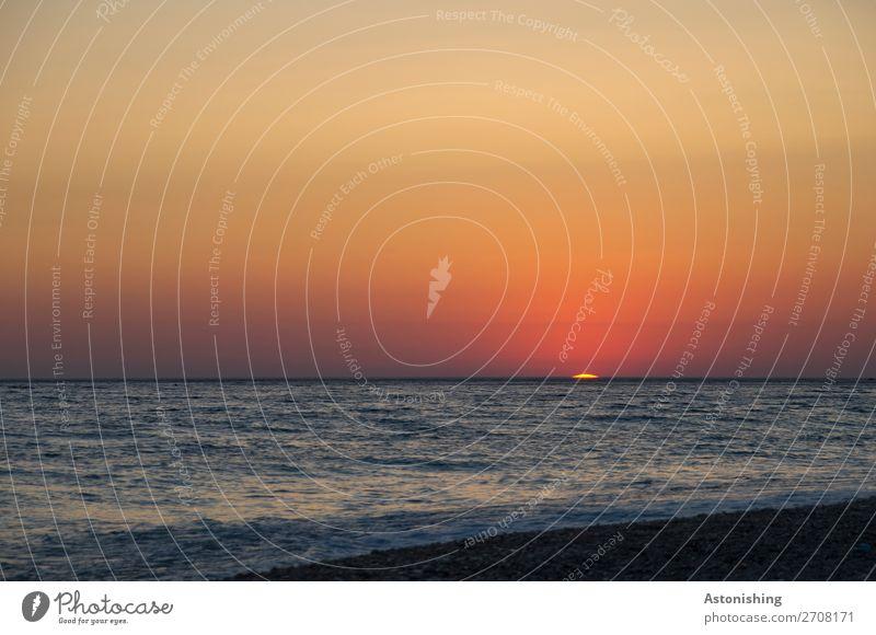 die letzte Sekunde Umwelt Natur Himmel Wolkenloser Himmel Nachthimmel Horizont Sonne Sonnenaufgang Sonnenuntergang Sonnenlicht Sommer Wetter Schönes Wetter