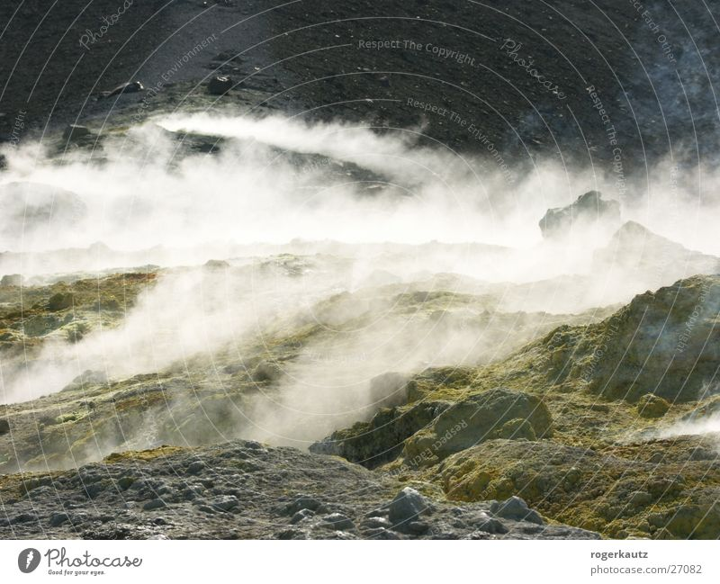 Giftiger Rauch Vulcano Italien Schwefel Vulkan Schwefeldampf