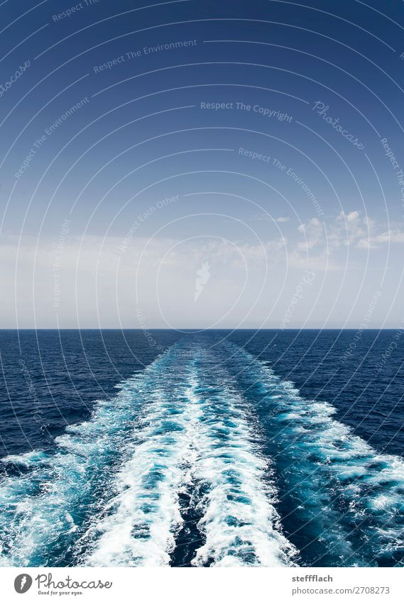 Kein Blick zurück! Sommer Sommerurlaub Meer Wellen Wolkenloser Himmel Schönes Wetter Mittelmeer Schifffahrt Kreuzfahrt Passagierschiff Kreuzfahrtschiff