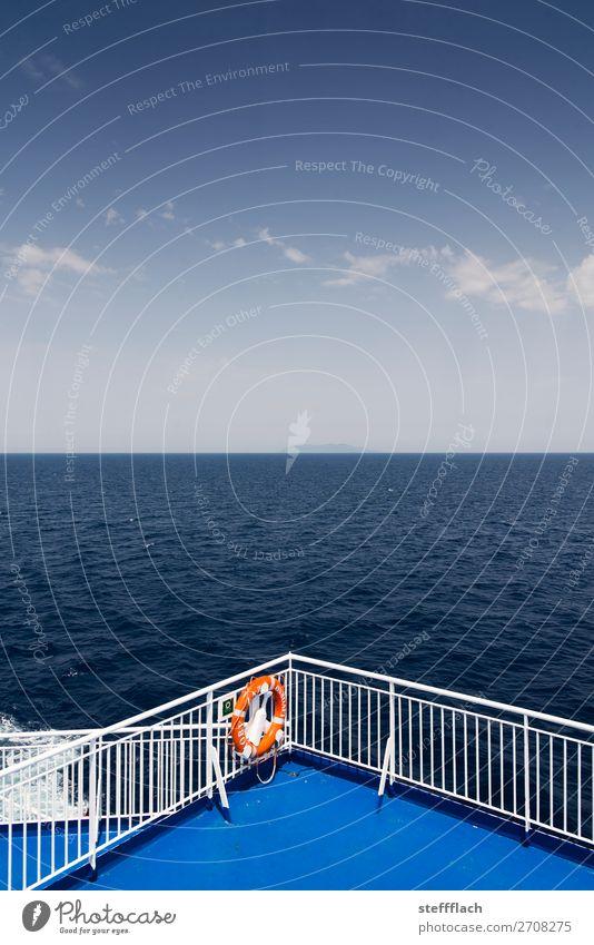 Land in Sicht! Ferien & Urlaub & Reisen Tourismus Ferne Kreuzfahrt Sommer Sommerurlaub Meer Insel Wellen Himmel Wolken Schönes Wetter Küste Mittelmeer
