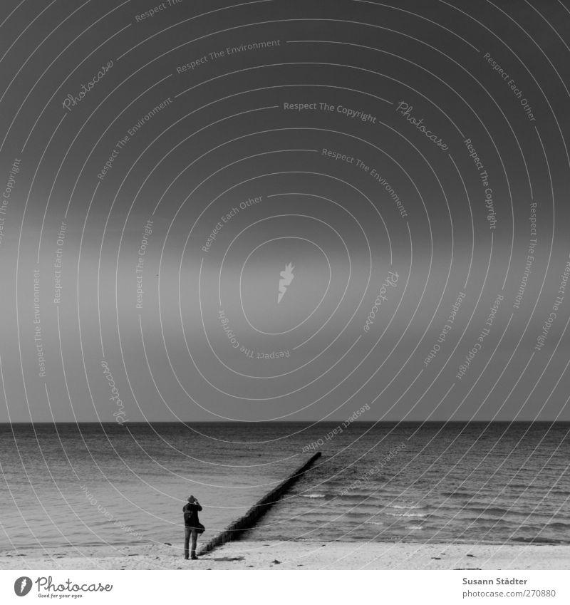 Hiddensee | l Mensch Meer Strand Einsamkeit ruhig Küste Körper Wellen Insel beobachten einzeln Frieden Ostsee Wolkenloser Himmel Fotograf Buhne