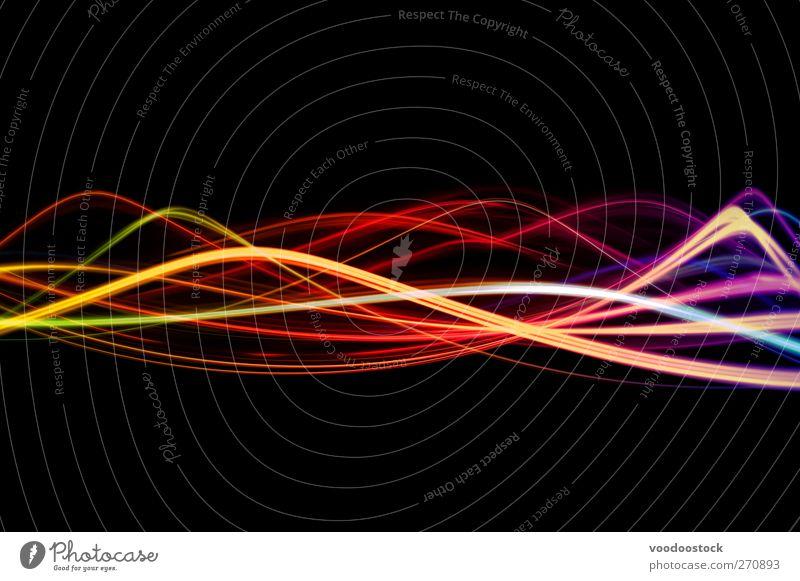 Lichtwellen Design Wellen Nachtleben clubbing Energiewirtschaft Linie hell gelb orange schwarz Freude Tatkraft Bewegung Farbe Hintergrund farbenfroh bunt