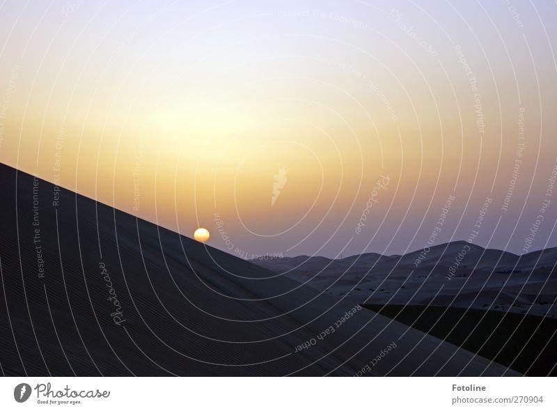 Ein toller Tag geht! Umwelt Natur Landschaft Himmel Wolkenloser Himmel Sonne Sonnenaufgang Sonnenuntergang Wüste natürlich Wärme Abend Abendsonne Abenddämmerung