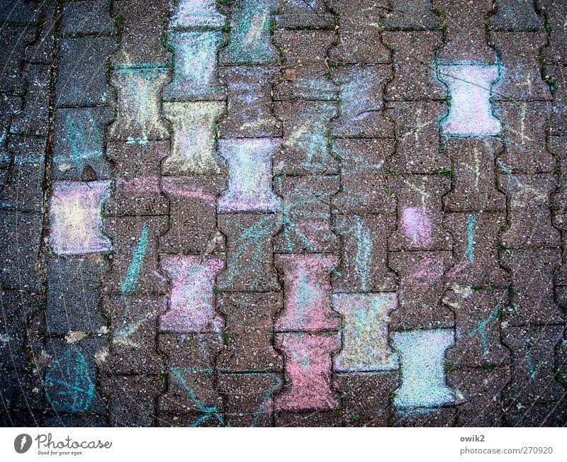 Puzzle Design Kunst Kunstwerk Gemälde Wege & Pfade Pflastersteine Beton authentisch eckig Fröhlichkeit lustig verrückt unten viele blau gelb violett türkis