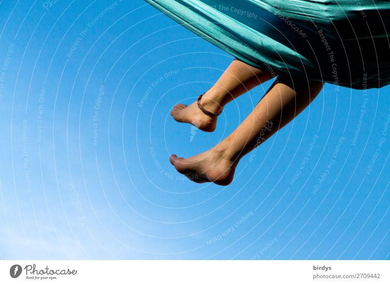 Himmelreich Erholung Sommer feminin Beine 1 Mensch 18-30 Jahre Jugendliche Erwachsene Wolkenloser Himmel Hängematte genießen liegen träumen frei nackt positiv