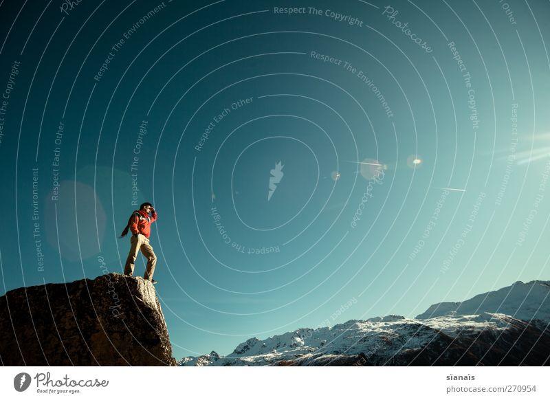 Lichtblick Mensch Ferien & Urlaub & Reisen Mann Sonne Ferne Erwachsene Berge u. Gebirge Freiheit maskulin Lifestyle Tourismus Aussicht Ausflug Zukunft Abenteuer