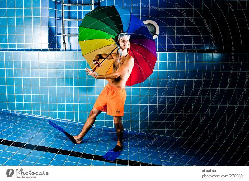 Ariell 2.0 Jugendliche Ferien & Urlaub & Reisen lachen Schwimmen & Baden gehen außergewöhnlich laufen elegant Junger Mann Tanzveranstaltung verrückt Lifestyle Spaziergang Lächeln Schwimmbad Regenschirm