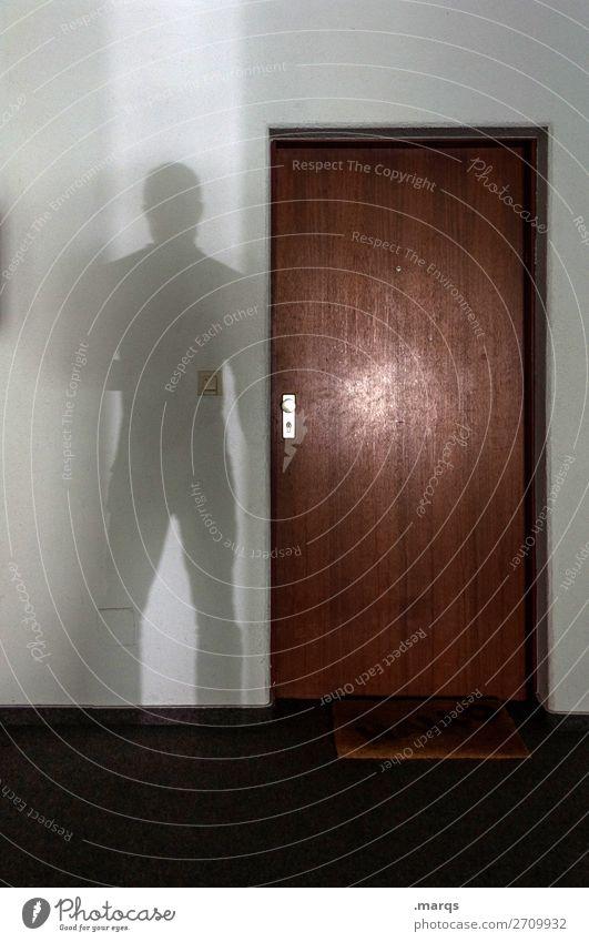 Besucher Wohnung Tür Eingang Mensch maskulin 1 beobachten stehen Angst bedrohlich Sicherheit anonym Kriminalität Einbruch Stalking Farbfoto Innenaufnahme