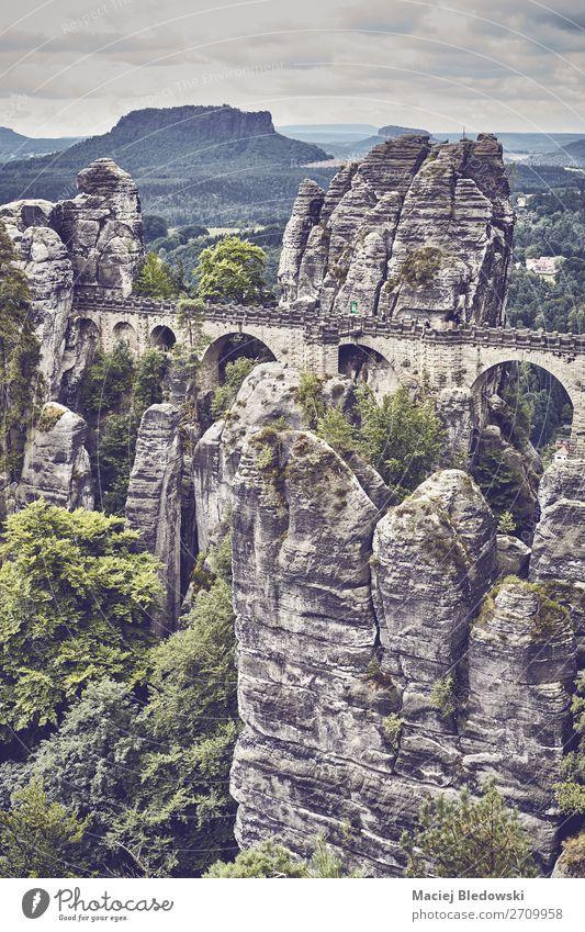 Ferien & Urlaub & Reisen Natur alt Landschaft Baum Wald Berge u. Gebirge Deutschland Tourismus Felsen Ausflug wandern Park retro Aussicht Europa