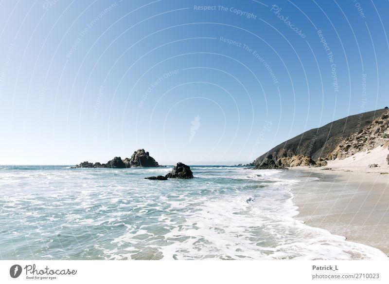 Big Sure Landschaft Wasser Sonne Sommer Wellen Küste Strand ästhetisch exotisch frei Freundlichkeit Fröhlichkeit Gesundheit Unendlichkeit maritim schön blau