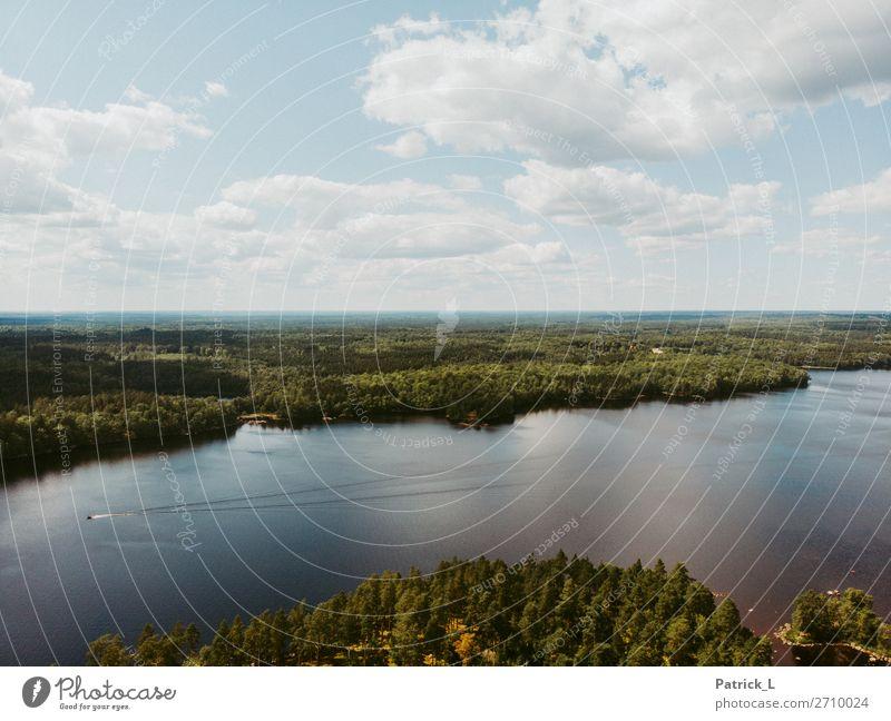 Schwedenvibes Himmel Natur Sommer blau grün Wasser Landschaft Wolken Wald Ferne Leben Freiheit Wasserfahrzeug wild frei offen