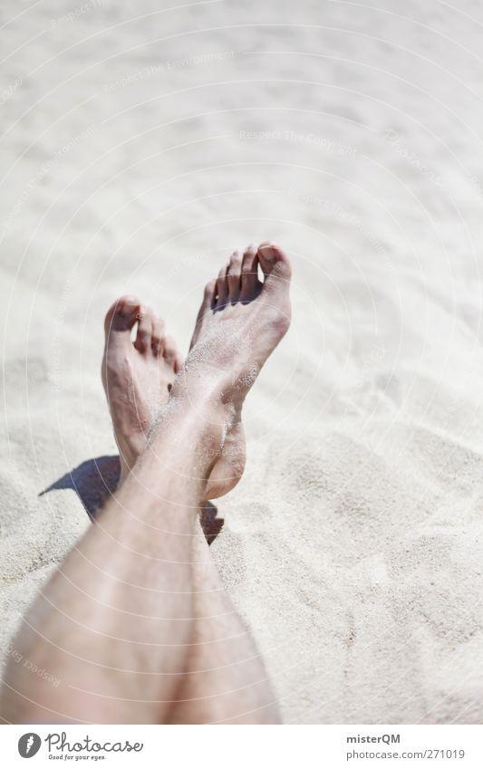 Endlich Sommer! Ferien & Urlaub & Reisen Sonne Meer Strand Einsamkeit ruhig Erholung Küste Sand Beine Fuß 2 Kunst Zufriedenheit Freizeit & Hobby